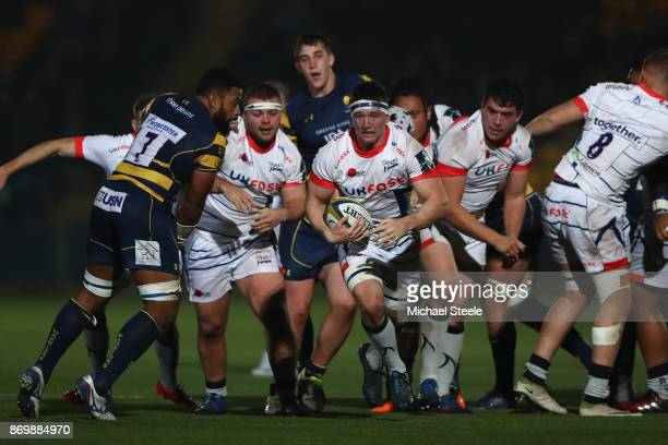 Ben Curry of Sale makes a break during the AngloWelsh Cup match between Worcester Warriors and Sale Sharks at Sixways Stadium on November 3 2017 in...