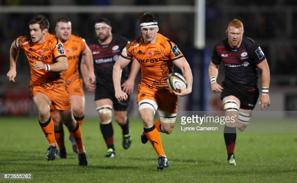 Ben Curry of Sale Sharks makes a run through the middle during the AngloWelsh Cup match between Sale Sharks and Saracens at AJ Bell Stadium on...