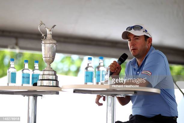 Ben Curtis of the USA answers questions from the public in the tented village at a QA session hosted by Andrew Cotter during the second round of the...