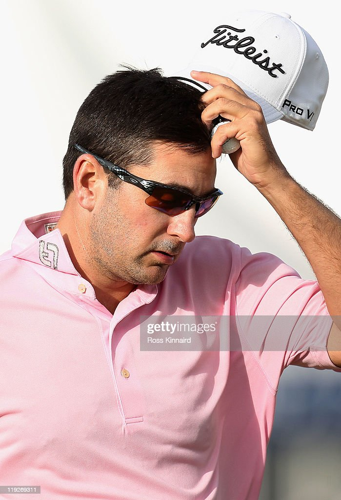 Ben Curtis of the USA reacts on the 18th green during the second round of The 140th Open Championship at Royal St George's on July 15, 2011 in Sandwich, England.