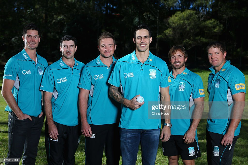 Ben Cutting, Justin Sternes, Peter Forrest, Mitchell Johnson, Chris Hartley and James Hopes pose during a Brisbane Heat Big Bash League media day at JC Slaughter Fields on July 24, 2013 in Brisbane, Australia.