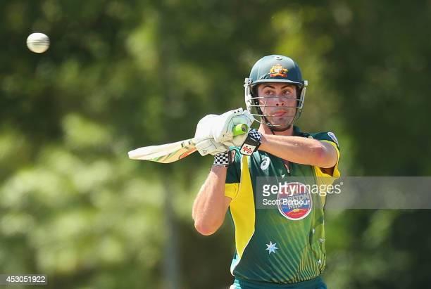 Ben Cutting of Australia 'A' bats during the Cricket Australia Quadrangular Series Final match between Australia 'A' and India 'A' at Marrara Oval on...