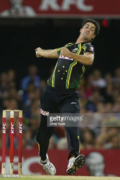 Ben Cutting of Australia bowls during the International Twenty20 match between Australia and the West Indies at The Gabba on February 13 2013 in...