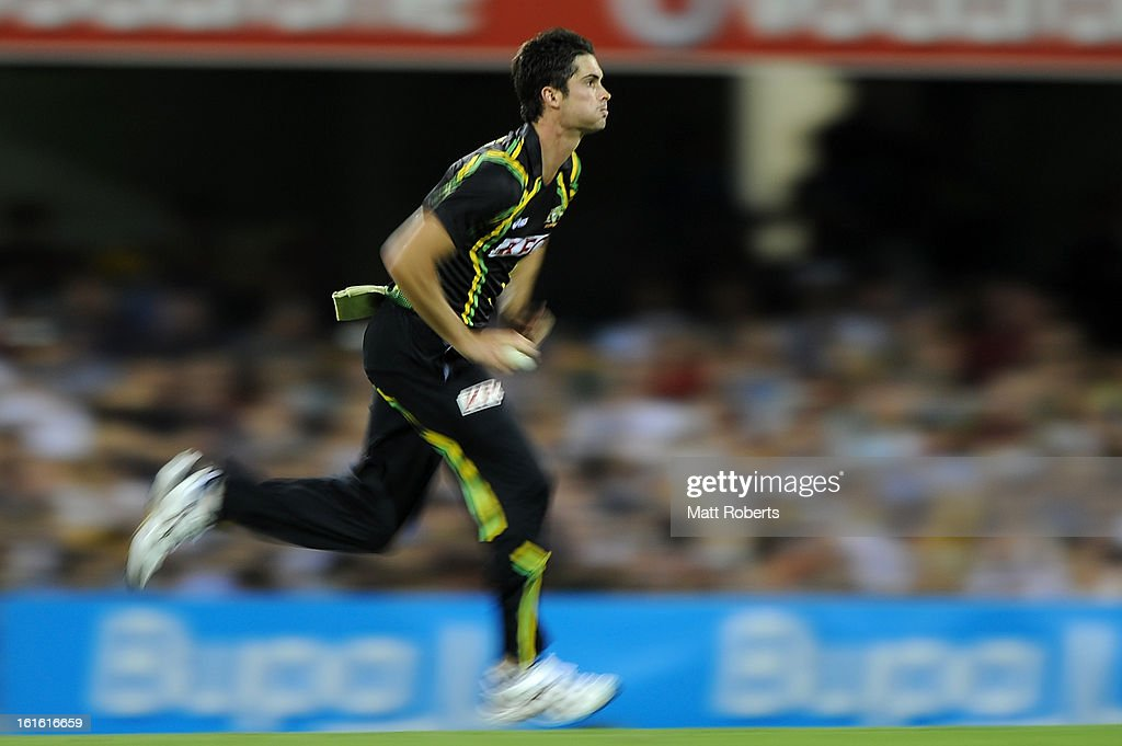 Ben Cutting of Australia bowls during the International Twenty20 match between Australia and the West Indies at The Gabba on February 13, 2013 in Brisbane, Australia.