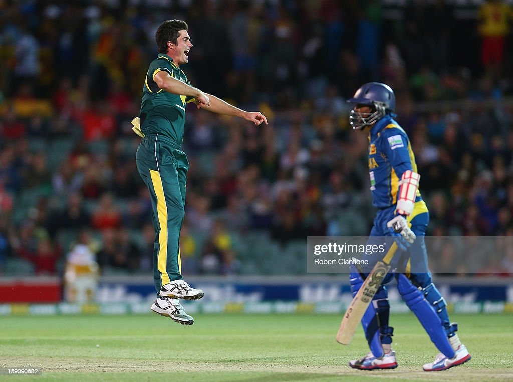Ben Cutting of Australia celebrates taking the wicket of <a gi-track='captionPersonalityLinkClicked' href=/galleries/search?phrase=Tillakaratne+Dilshan&family=editorial&specificpeople=239186 ng-click='$event.stopPropagation()'>Tillakaratne Dilshan</a> of Sri Lanka during game two of the Commonwealth Bank One Day International series between Australia and Sri Lanka at Adelaide Oval on January 13, 2013 in Adelaide, Australia.