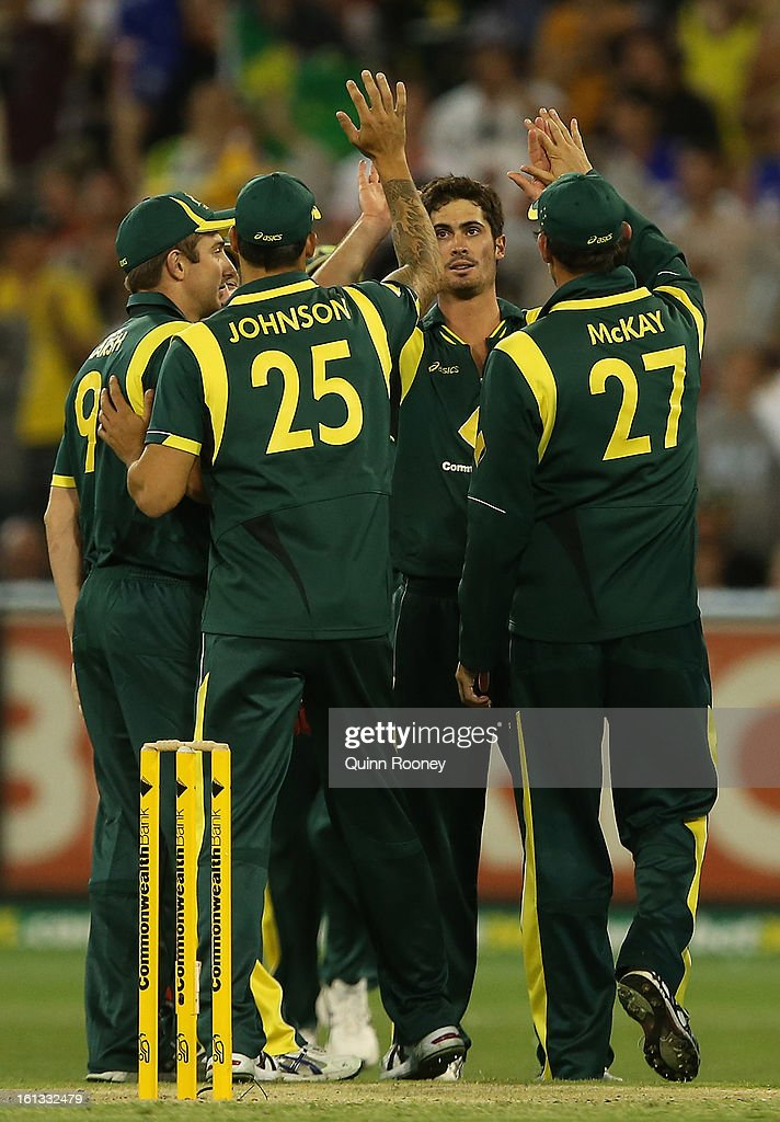 Ben Cutting of Australia is congratulated by team mates after getting a wicket during game five of the Commonwealth Bank International Series between Australia and the West Indies at Melbourne Cricket Ground on February 10, 2013 in Melbourne, Australia.