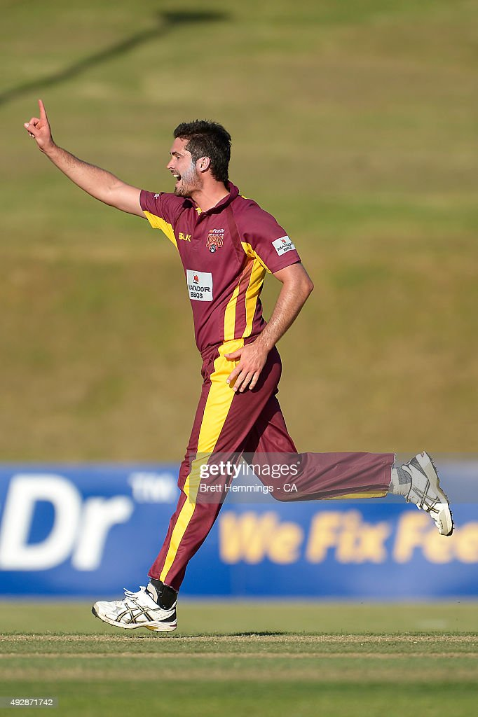 <a gi-track='captionPersonalityLinkClicked' href=/galleries/search?phrase=Ben+Cutting&family=editorial&specificpeople=4537947 ng-click='$event.stopPropagation()'>Ben Cutting</a> of Queensland celebrates after taking the wicket of Peter Nevill of NSW during the Matador BBQs One Day Cup match between Queensland and New South Wales at Drummoyne Oval on October 16, 2015 in Sydney, Australia.