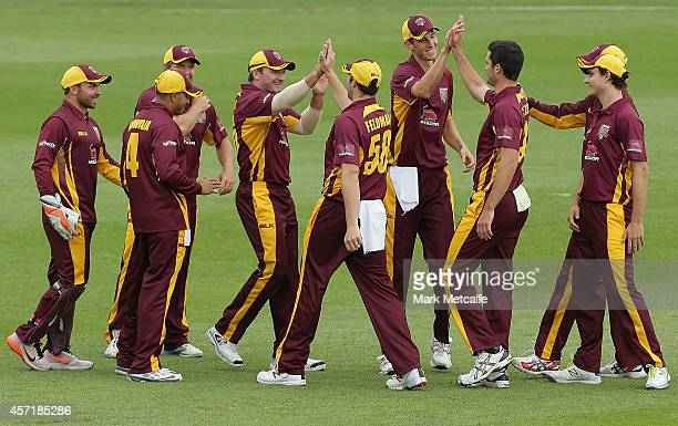 Ben Cutting of Queensland celebrates with team mates after taking the wicket of Cameron White of Victoria during the Matador BBQs Cup match between...