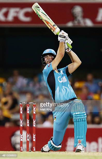 Ben Cutting of the Heat bats during the Big Bash League match between the Brisbane Heat and Hobart Hurricanes at The Gabba on January 15 2015 in...