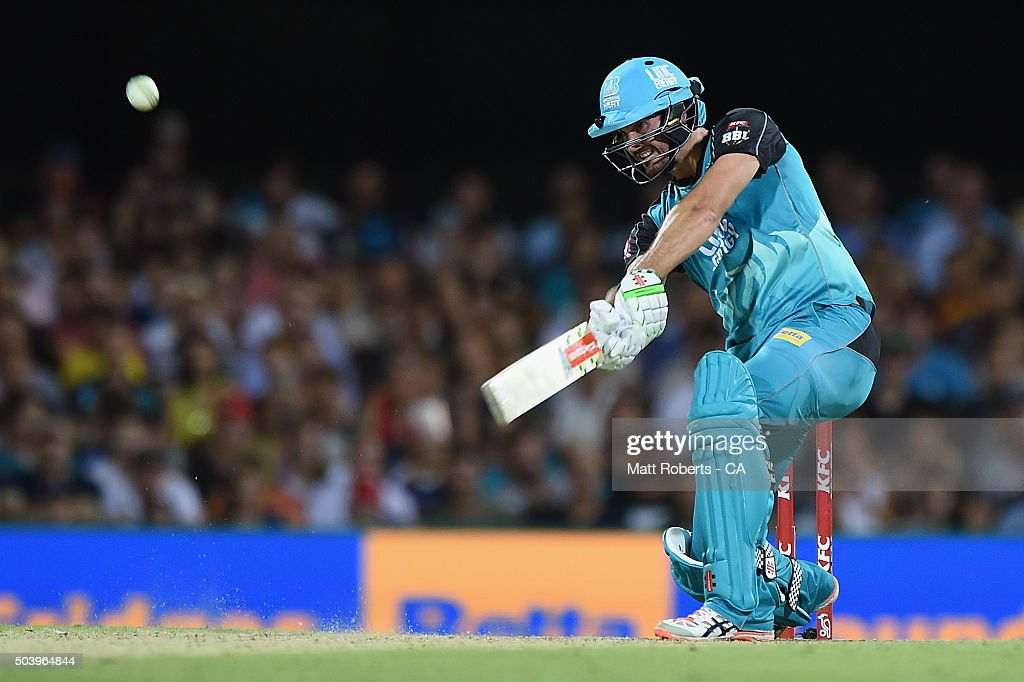 <a gi-track='captionPersonalityLinkClicked' href=/galleries/search?phrase=Ben+Cutting&family=editorial&specificpeople=4537947 ng-click='$event.stopPropagation()'>Ben Cutting</a> of the Heat bats during the Big Bash League match between the Brisbane Heat and the Adelaide Strikers at The Gabba on January 8, 2016 in Brisbane, Australia.