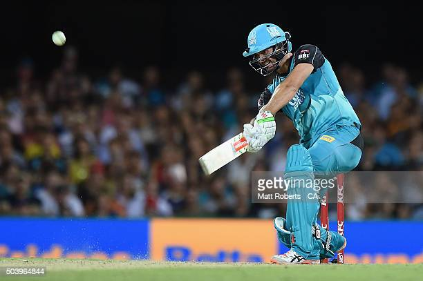 Ben Cutting of the Heat bats during the Big Bash League match between the Brisbane Heat and the Adelaide Strikers at The Gabba on January 8 2016 in...