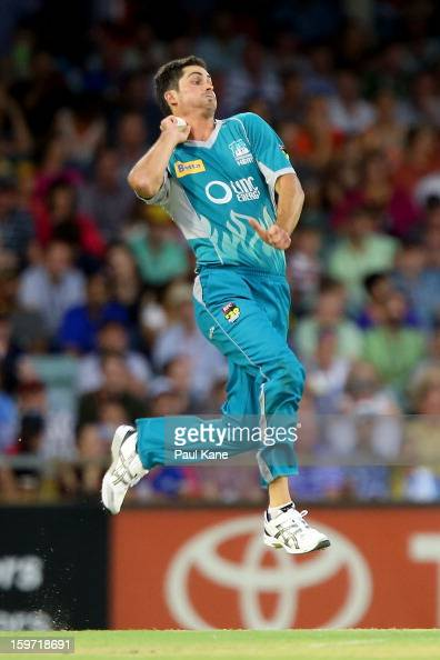 Ben Cutting of the Heat bowls during the Big Bash League final match between the Perth Scorchers and the Brisbane Heat at the WACA on January 19 2013...