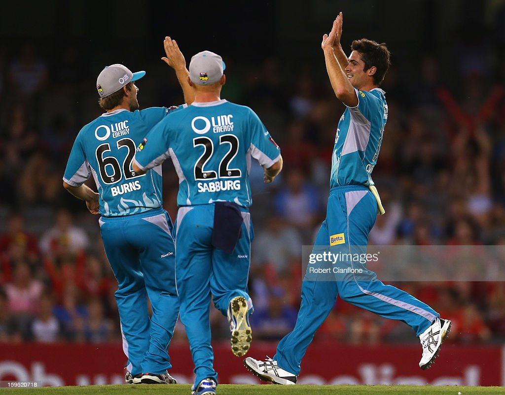Ben Cutting of the Heat celebrates the wicket of Alex Hales of the Renegades during the Big Bash League Semi-Final match between the Melbourne Renegades and the Brisbane Heat at Etihad Stadium on January 15, 2013 in Melbourne, Australia.
