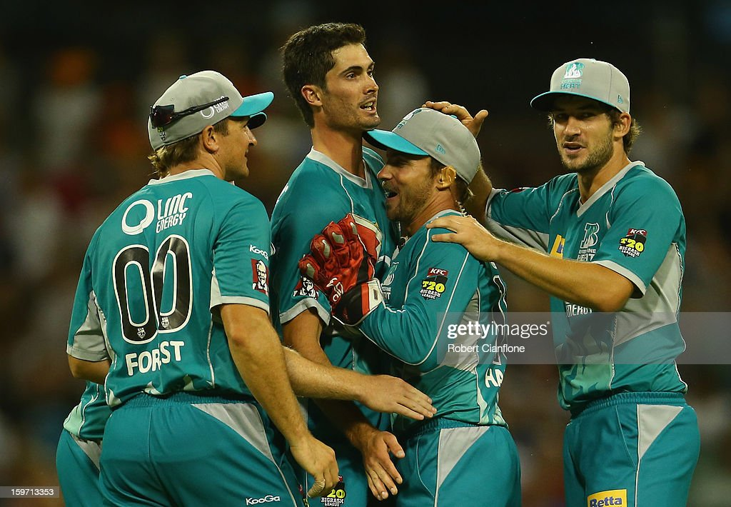 Ben Cutting of the Heat celebrates the wicket of Alfonso Thomas of the Scorchers during the Big Bash League final match between the Perth Scorchers and the Brisbane Heat at the WACA on January 19, 2013 in Perth, Australia.