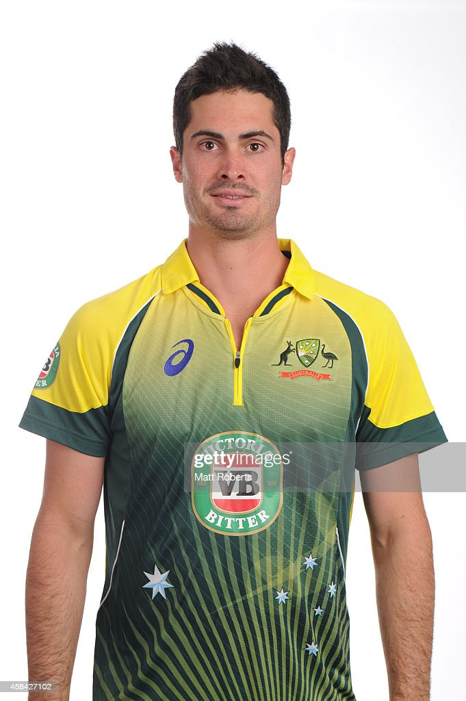 <a gi-track='captionPersonalityLinkClicked' href=/galleries/search?phrase=Ben+Cutting&family=editorial&specificpeople=4537947 ng-click='$event.stopPropagation()'>Ben Cutting</a> poses during the Cricket Australia ODI headshots session at the Mantra on Southbank on August 15, 2014 in Brisbane, Australia.