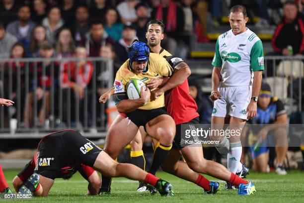 Ben Daley of the Force charges forward during the round five Super Rugby match between the Crusaders and the Force at AMI Stadium on March 24 2017 in...