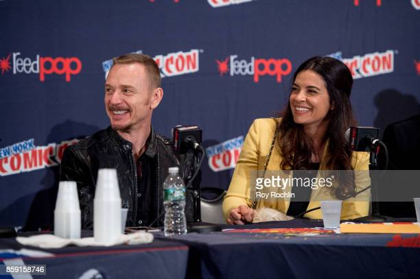 Ben Daniels and Zuleikha Robinson attend the 'The Exorcist' panel during the 2017 New York Comic Con Day 4 on October 8 2017 in New York City