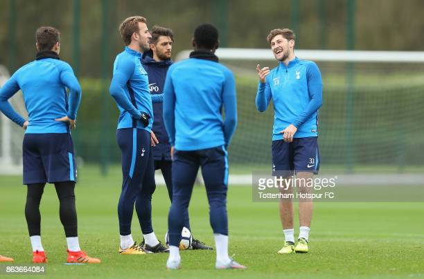 Ben Davies and Harry Kane of Tottenham during the Tottenham Hotspur training session at Tottenham Hotspur Training Centre on October 20 2017 in...