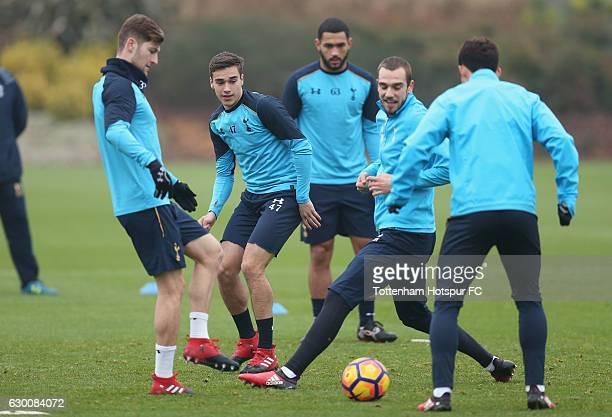 Ben Davies Harry Winks Cameron CarterVickers Pau Lopez and Son Heungmin of Tottenham during the Tottenham Hotspur training session at Tottenham...