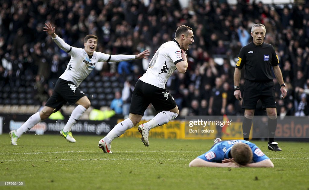 Ben Davies of Derby celebrates after scoring his team's third goal of the game during the npower Championship match between Derby County and Leeds United at Pride Park on December 8, 2012 in Derby, England.