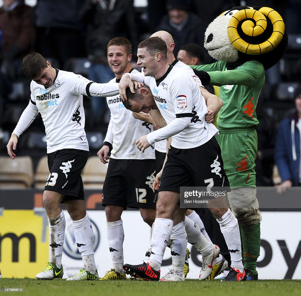 Ben Davies of Derby celebrates with team mates after scoring his team's third goal of the game during the npower Championship match between Derby County and Leeds United at Pride Park on December 8, 2012 in Derby, England.