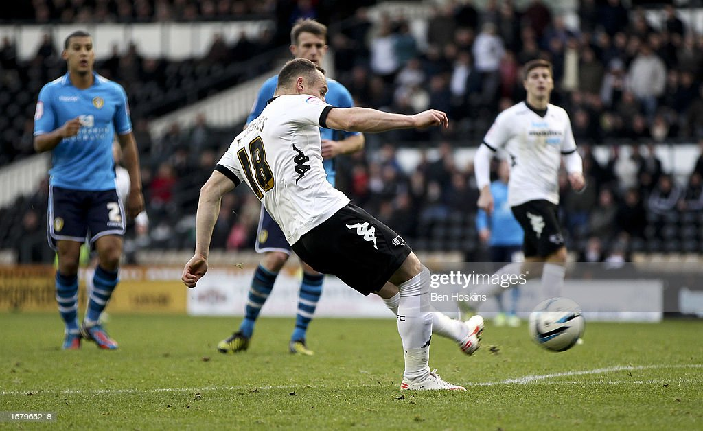 Ben Davies of Derby scores his teams third goal of the game during the npower Championship match between Derby County and Leeds United at Pride Park on December 8, 2012 in Derby, England.