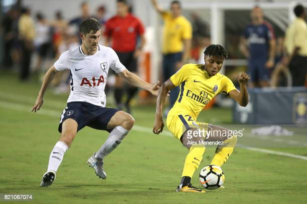 Ben Davies of Tottenham Hotspur and Christopher Nkunku of Paris SaintGermain fight for the ball during the International Champions Cup 2017 match...