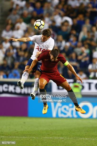 Ben Davies of Tottenham Hotspur and Kevin Strootman of Roma vie for the ball during the International Champions Cup 2017 at Red Bull Arena on July 25...