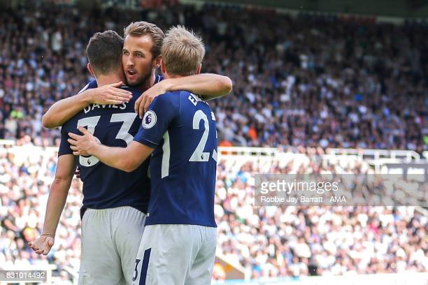 Ben Davies of Tottenham Hotspur celebrates after scoring a goal to make it 02 during the Premier League match between Newcastle United and Tottenham...