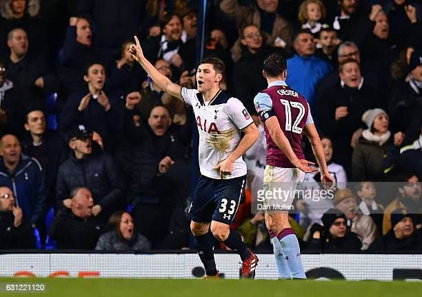 Ben Davies of Tottenham Hotspur celebrates scoring his sides first goal during The Emirates FA Cup Third Round match between Tottenham Hotspur and...