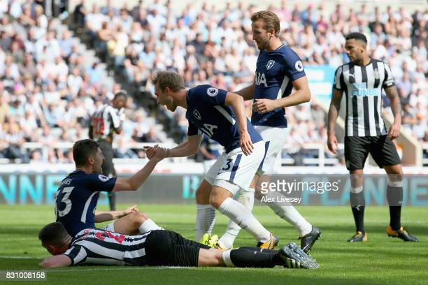Ben Davies of Tottenham Hotspur celebrates scoring his sides second goal with Christian Eriksen of Tottenham Hotspur and Harry Kane of Tottenham...