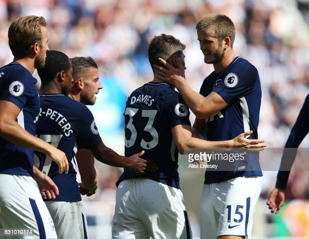 Ben Davies of Tottenham Hotspur celebrates scoring his sides second goal with Eric Dier of Tottenham Hotspur during the Premier League match between...