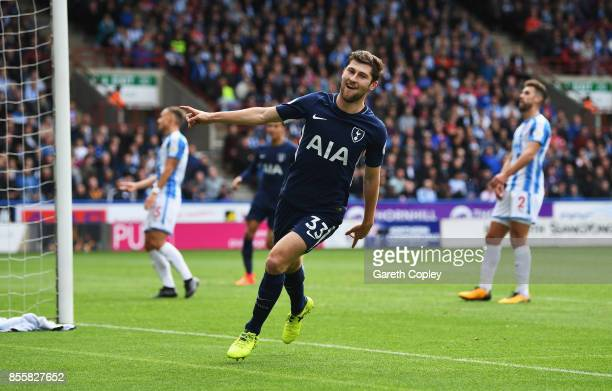 Ben Davies of Tottenham Hotspur celebrates scoring his sides second goal during the Premier League match between Huddersfield Town and Tottenham...