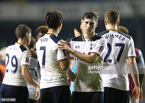 Ben Davies of Tottenham Hotspur celebrates with his team mates after the final whistle during The Emirates FA Cup Third Round match between Tottenham...