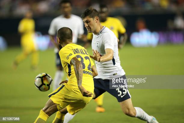 Ben Davies of Tottenham Hotspur defends against Dani Alves of Paris SaintGermain during the International Champions Cup 2017 match between Paris...