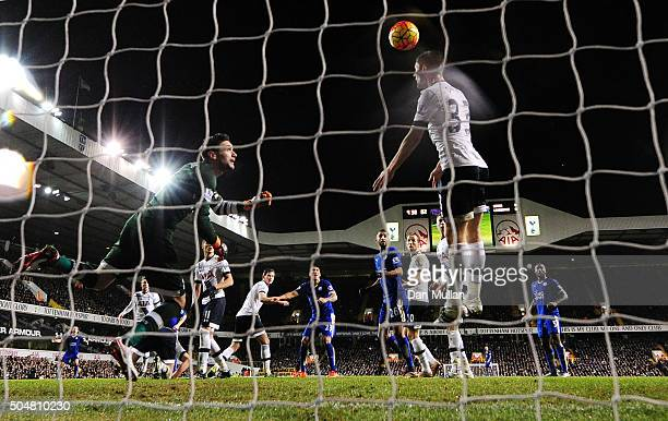 Ben Davies of Tottenham Hotspur fails to block the header by Robert Huth of Leicester City to allow Leicester's first goal during the Barclays...