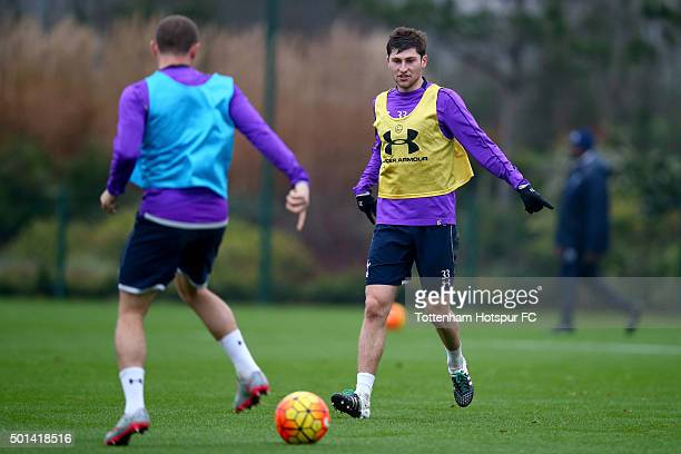 Ben Davies of Tottenham Hotspur gives instructions during a training session at the club's training ground on December 15 2015 in Enfield England