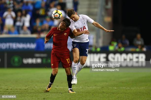 Ben Davies of Tottenham Hotspur in action against Cengiz Under of Roma during the International Champions Cup 2017 at Red Bull Arena on July 25 2017...