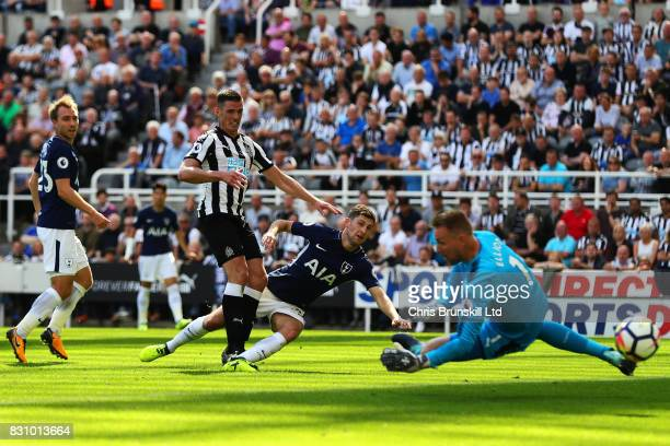 Ben Davies of Tottenham Hotspur scores his side's second goal during the Premier League match between Newcastle United and Tottenham Hotspur at St...
