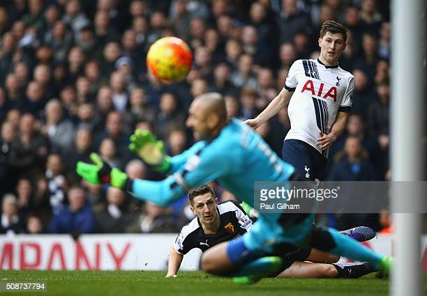 Ben Davies of Tottenham Hotspur shoots at goal during the Barclays Premier League match between Tottenham Hotspur and Watford at White Hart Lane on...