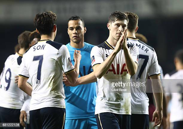 Ben Davies of Tottenham Hotspur shows appreciation to the fans after the final whistle during The Emirates FA Cup Third Round match between Tottenham...