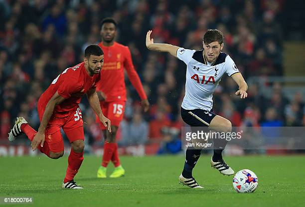 Ben Davies of Tottenham in action during the EFL Cup fourth round match between Liverpool and Tottenham Hotspur at Anfield on October 25 2016 in...