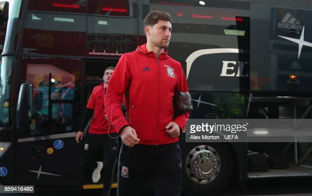 Ben Davies of Wales arrives prior to the FIFA 2018 World Cup Qualifier between Wales and Republic of Ireland at Cardiff City Stadium on October 9...