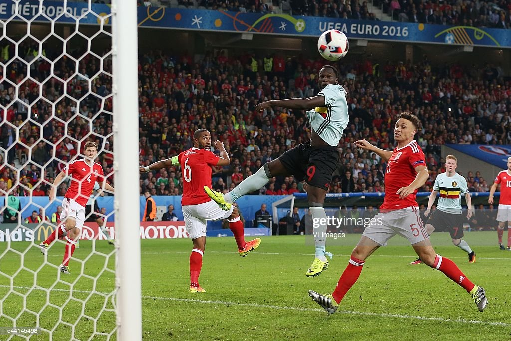 Ben Davies of Wales, Ashley Williams of Wales, Romelu Lukaku of Belgium, James Chester of Wales during the UEFA EURO 2016 quarter final match between Wales and Belgium on July 2, 2016 at the Stade Pierre Mauroy in Lille, France.