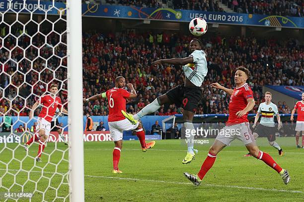 Ben Davies of Wales Ashley Williams of Wales Romelu Lukaku of Belgium James Chester of Wales during the UEFA EURO 2016 quarter final match between...