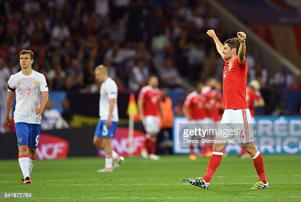 Ben Davies of Wales celebrates his team's third goal during the UEFA EURO 2016 Group B match between Russia and Wales at Stadium Municipal on June 20...