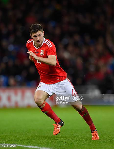 Ben Davies of Wales in action during the friendly International match between Wales and Netherlands at Cardiff City Stadium on November 13 2015 in...