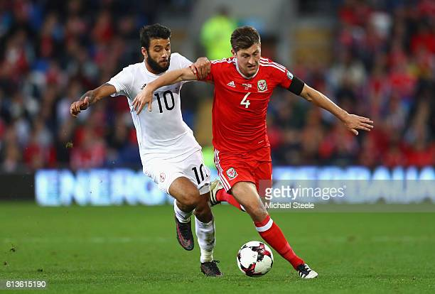 Ben Davies of Wales is closed down by Tornike Okriashvili of Georgia during the FIFA 2018 World Cup Qualifier Group D match between Wales and Georgia...