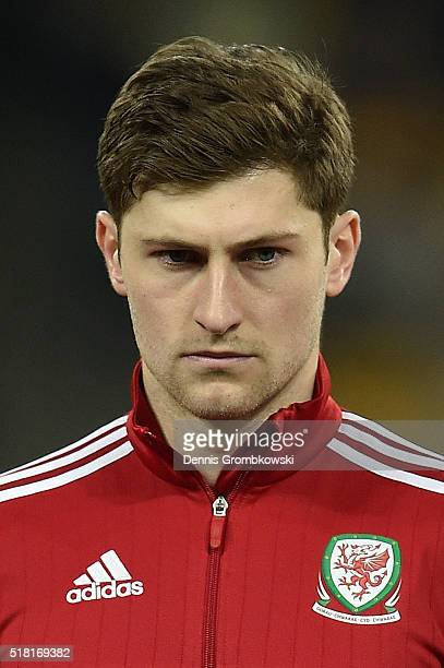 Ben Davies of Wales looks on as the national anthems are played prior to kickoff during the International Friendly match between Ukraine and Wales at...