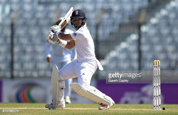 Ben Duckett of England bats during the first Test match between Bangladesh and England at Zohur Ahmed Chowdhury Stadium on October 20 2016 in...